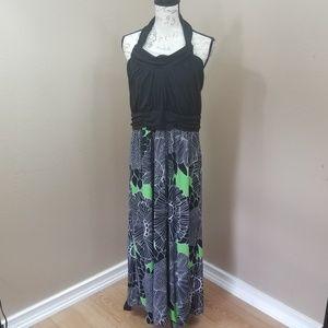 Lane Bryant Black Green Maxi Dress Size 14/16